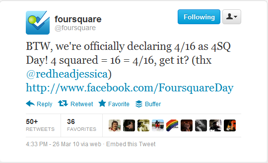why is it called foursquare day