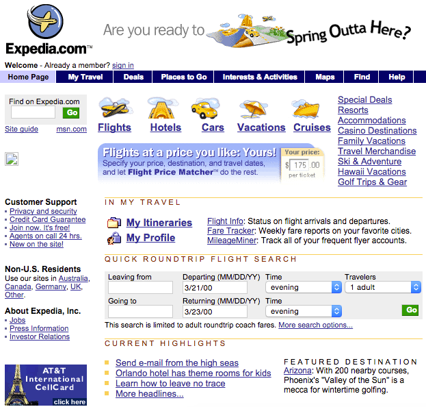 Expedia's Old Website