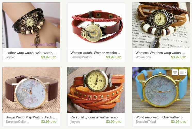 A set of inexpensive Chinese wrap watches.