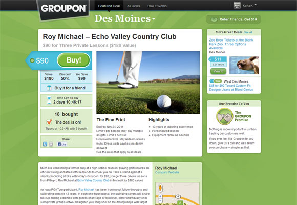 Old groupon website
