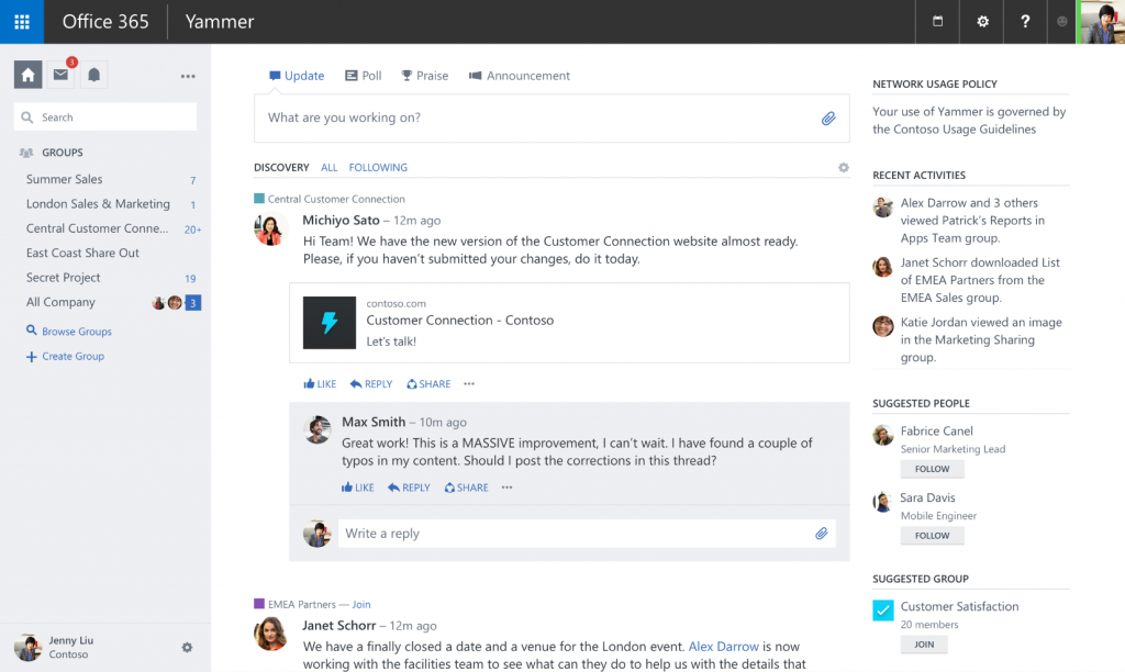 Yammer Product Screenshot