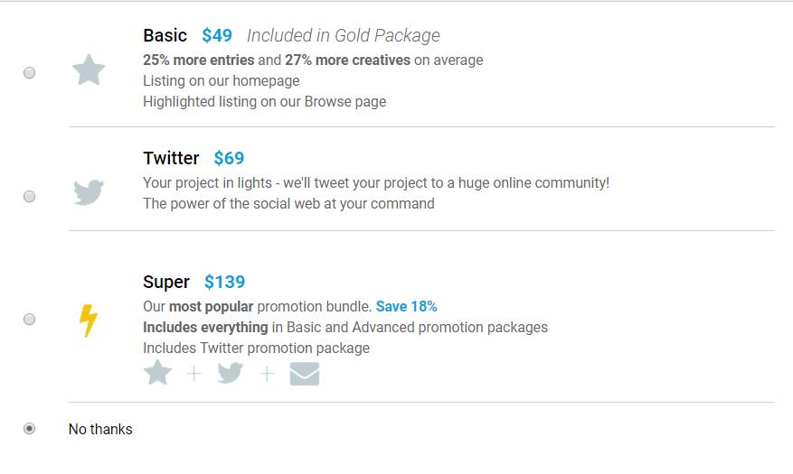 social options on Crowdspring