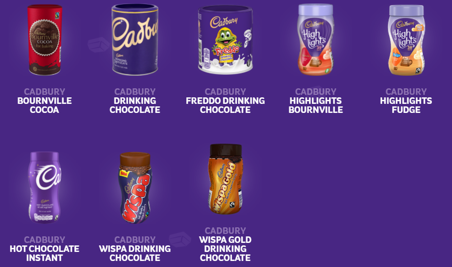assortment of Cadbury drinks