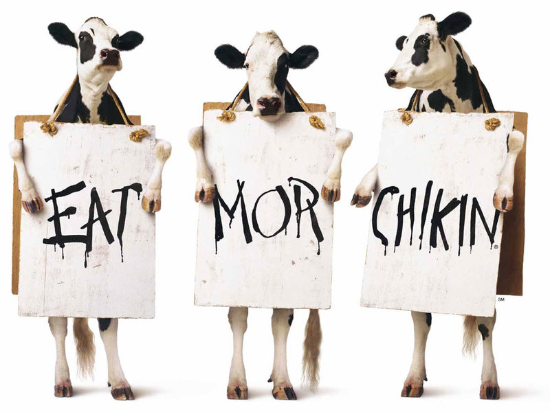 Chick Fil A Mascot and tagline